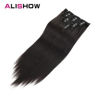 Alishow Human Hair Extensions Clip in Remy Hair full head Double Drawn Nature Human Hair in Clips Straight Hair Extensions 100g