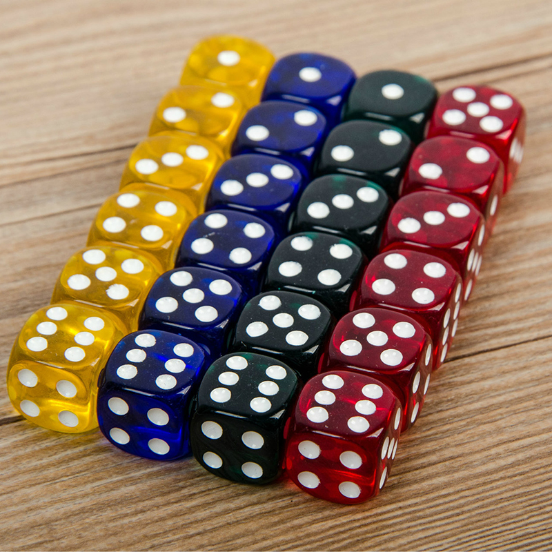 24Pcs Set 16MM Rounded Corners Four-Color Transparent Dice (Transparent Blue, Green, Yellow, Red All 6)