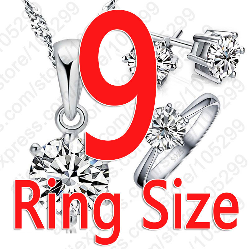 925 Sterling Silver Bridal Jewelry Sets For Women Accessory Cubic Zircon Crystal Necklace Rings Stud Earrings Set Gift 6