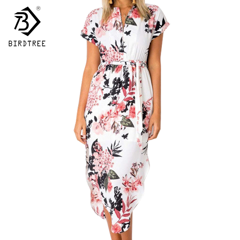2018 New Arrival Summer Dresses Casual V-Neck Elegance Short Sleeve Floral Print With Sash Plus Size 3XL Women Clothing D87303L