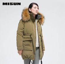 MISUN winter jacket women big raccoon fur collar thickening wide-waisted with a hood medium-long outerwear down coat & parkas
