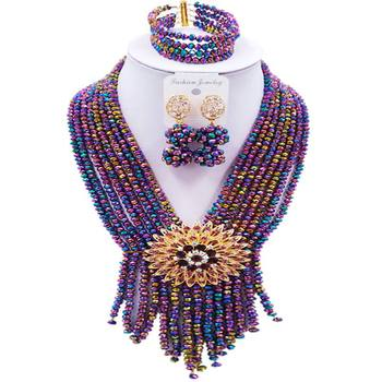 Well Received Multicolor Plated Crystal Nigerian Women Wedding Necklace Earrings Sets 8C-SK-17
