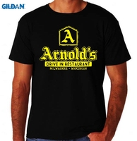 GILDAN Arnolds Diner Classic Happy 80 S USA TV Show New Black Mens Days Burger T