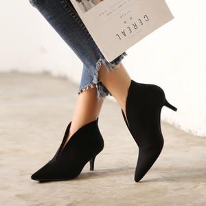 Image 2 - XGRAVITY European Sexy Point Toe Girl Thin Heel Woman Shoes Deep V Design Lady Fashion Shoes Elegant European Women Boots A059