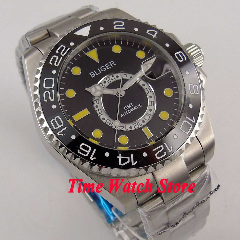 Bliger 43mm black dial yellow marks Ceramic Bezel sapphire glass 24 hours GMT Automatic movement  Mens watch men 208Bliger 43mm black dial yellow marks Ceramic Bezel sapphire glass 24 hours GMT Automatic movement  Mens watch men 208