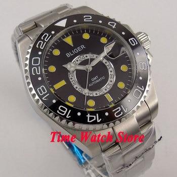 Bliger 43mm black dial yellow marks Ceramic Bezel sapphire glass 24 hours GMT Automatic movement  Men's watch men 208