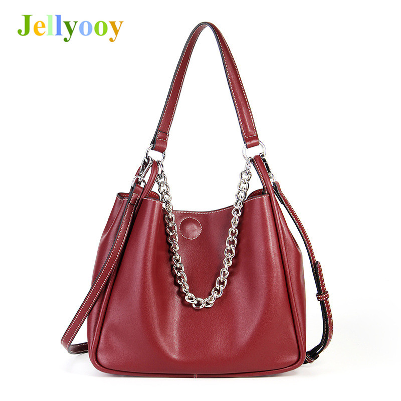 100% Genuine Leather Bucket Bags 2018 Famous Brand Designer Women's Handbags High Quality Tote Shoulder Messenger Bags Chains 100% genuine leather bags women s bucket famous brand designer handbags high quality tote shoulder messenger bags dollar price