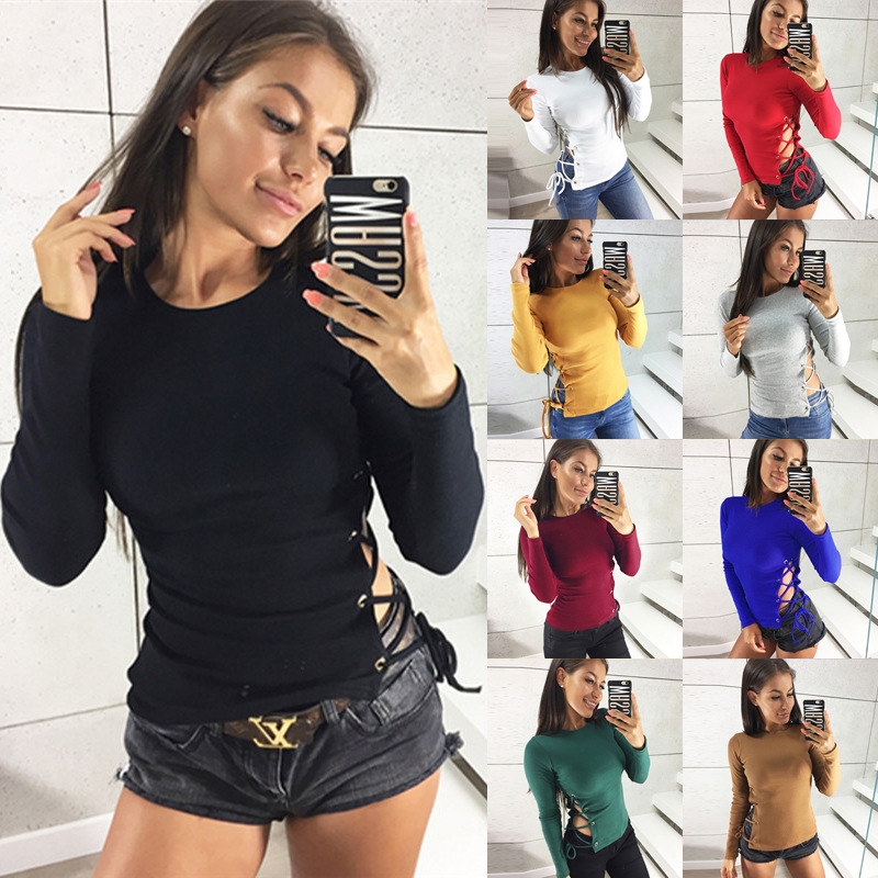 Autumn cute sexy Hollow out long Tshirt  women sleeve hollow graphic solid tees new