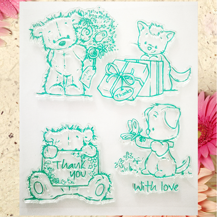 Scrapbook DIY photo cards account rubber stamp clear stamp finished transparent chapter cute cat  Thank you With love  12*14 thank you my friend you are the best scrapbook clear stamp photo cards account rubber stamp embossing folder card stamp