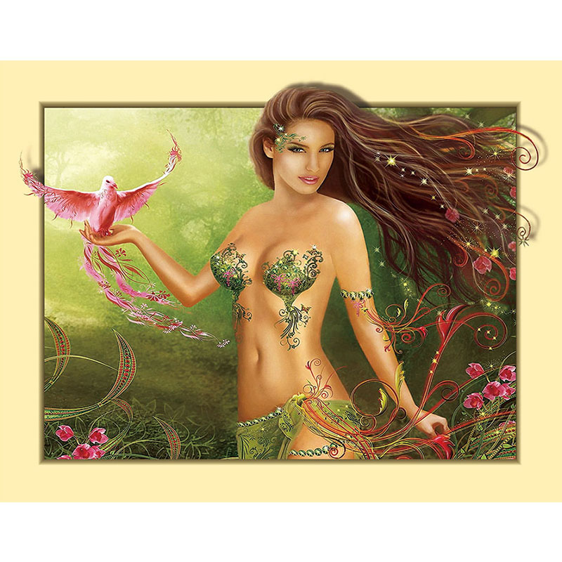 Full Drill <font><b>Diamond</b></font> Embroidery Jungle Fairy Handmade DIY <font><b>Diamond</b></font> <font><b>Painting</b></font> <font><b>Sexy</b></font> beauty Needlework Mosaic Cross Stitch Home Decor image