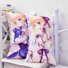 Japanese Anime Fate Stay Night Saber Que Abraza La Almohada Lindo de la Historieta Volver Almohadas Otaku Cojín 2WAY Tejido de Felpa