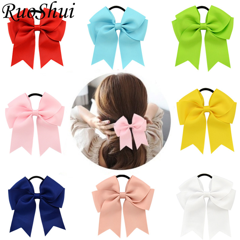 4.5 Inch Hair Ties Girls Women Solid Cheerleading Bow Elastic Hair Bands Ribbon Rope Ponytail Holder Kids Girls Hair Accessories