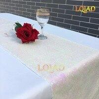 12x120 Inch-30x300cm سباركلي تغير الأبيض الترتر عداء ل حفل زفاف عيد الجدول عداء سماط ديكور