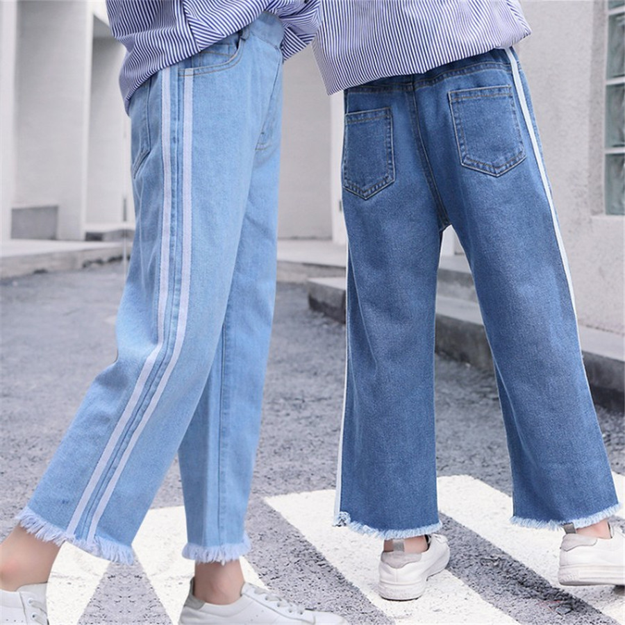 Girls 4-12 Years Spring Autumn Jeans Denim Loose Pants Casual Fashion Raw Edges Side Double Stripes Elastic Waist Jeans Trousers 2