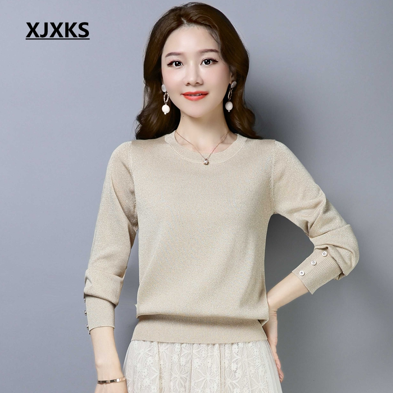 XJXKS 2019 Ice Silk Sweater Women Loose Korean Spring New Wild Long-sleeved Pullover Bright Silk Shirt Solid Color Sweater