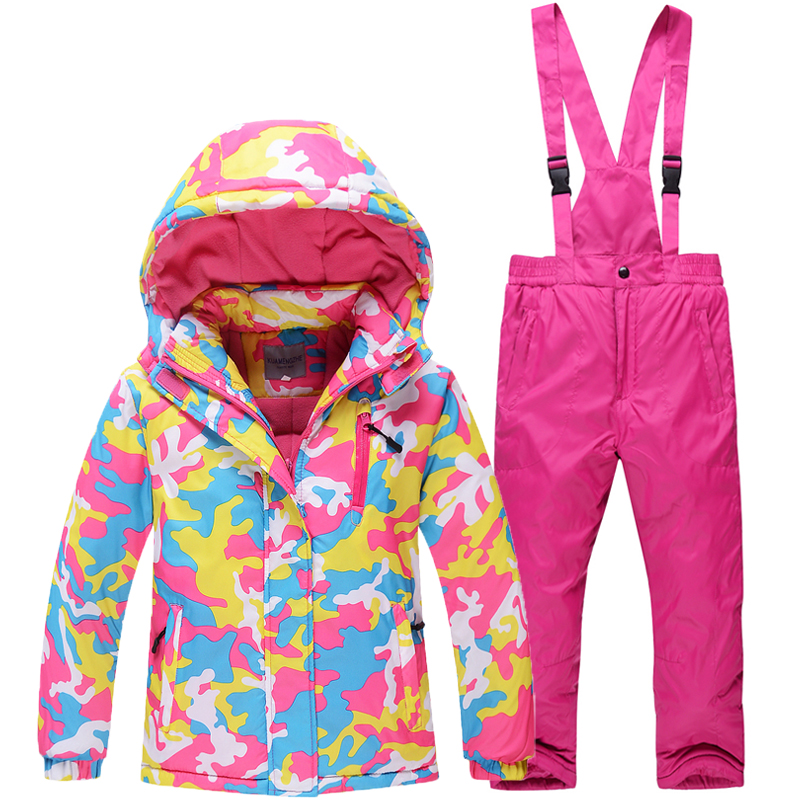Camouflage Children Snow Jacket Outdoor sports boys and girls ski suit set Waterproof windproof -30 Warm Costume jacket + pant