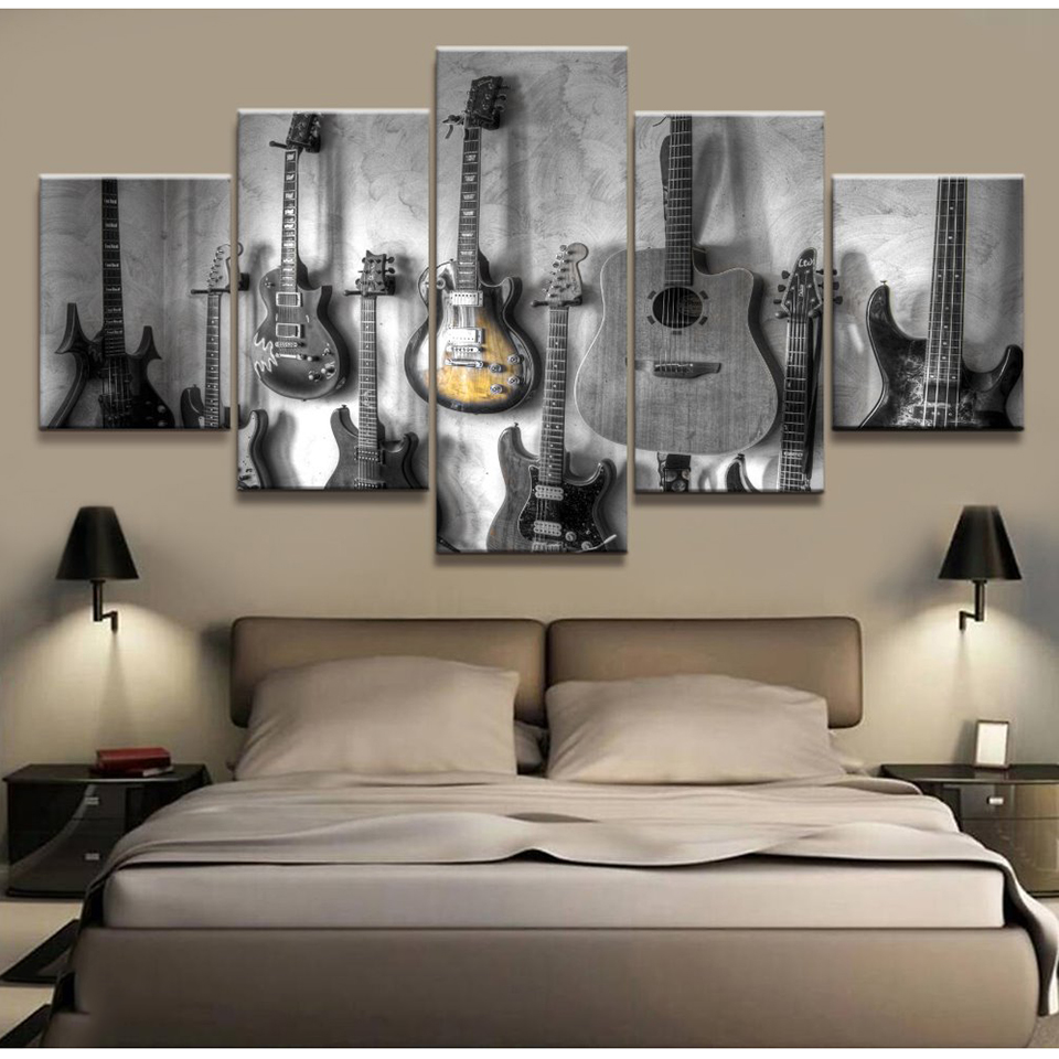 painting home decor canvas art poster wall for living room 5 pieces guitar musical instruments. Black Bedroom Furniture Sets. Home Design Ideas