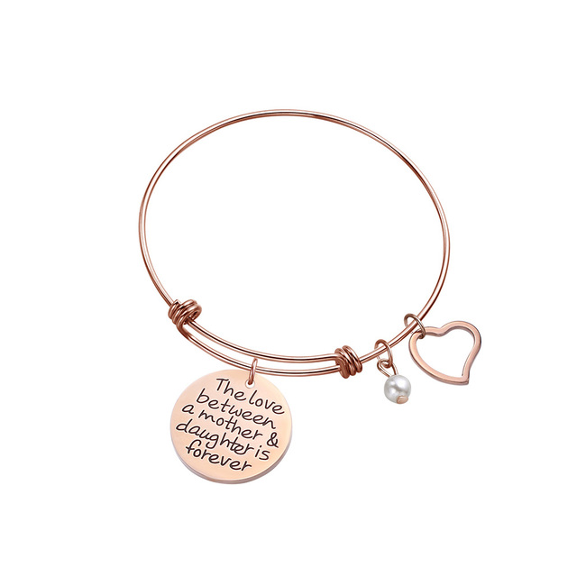 Mother Daughter Bracelet Bangle Mothers Day Birthday Gift For Mom Women Girls The Love Between A