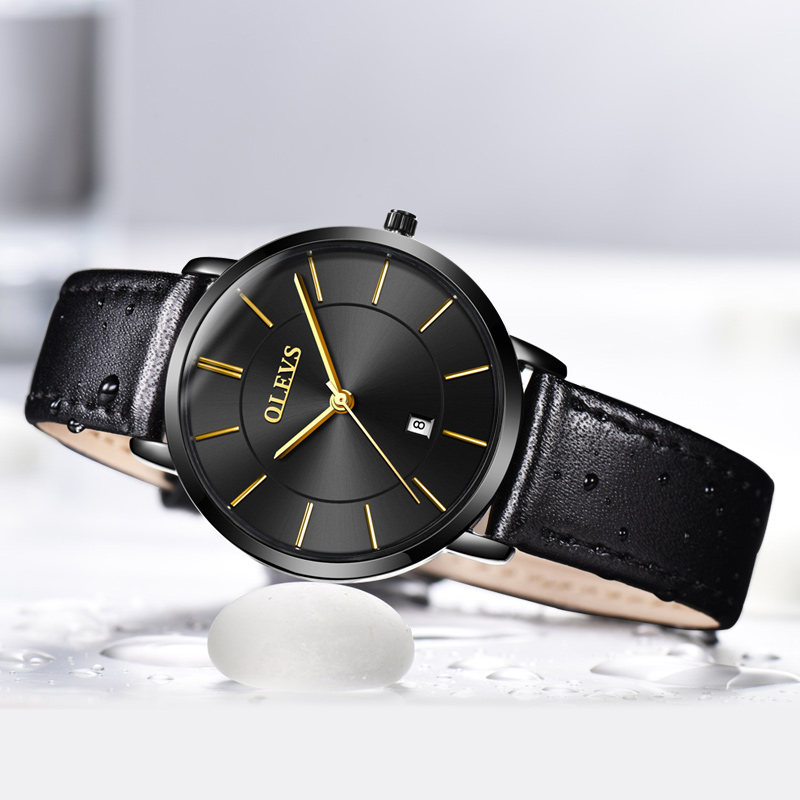 OLEVS Fashion Women Watch Black Leather Wrist Watches Top Luxury Brand Female Quartz Clock Waterproof Ladies Wristwatch 2018 цена