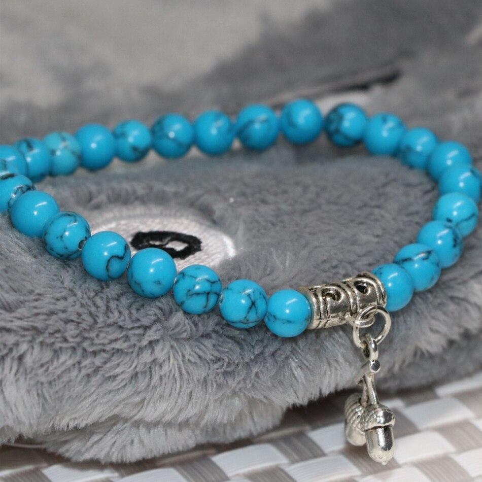 Tibet argent couleur fraise pendentif 6mm perles rondes bleu synthétique  calaite turquoises pierre bracelets bijoux 7.5 pouces B2121 dans Strand  Bracelets