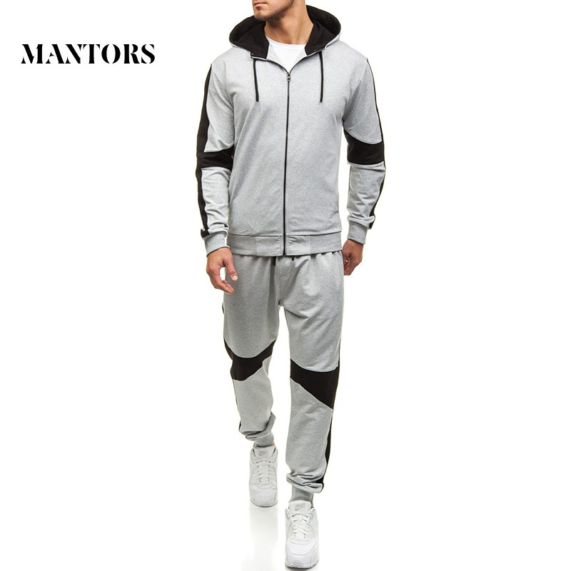 Tracksuit Men Set 2019 New Men's Sportswear Hooded Sweatshirts Sets Jackets+Pants Spring Autumn Male Casual Solid Zipper Suit
