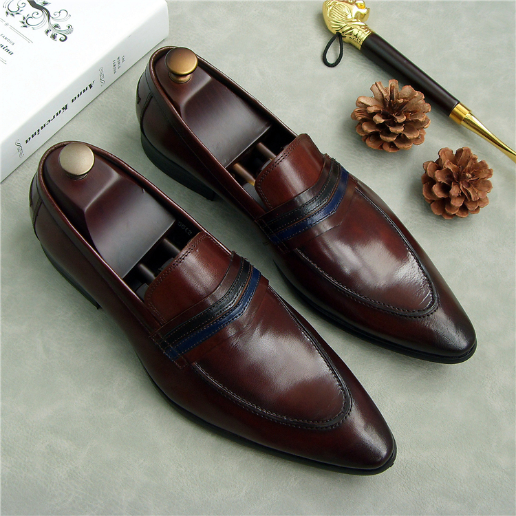 spring men genuine leather wedding oxfords shoes slip on handmade fashion business dress italian shoes for man pointed toe shoes pointed toe men dress oxfords shoes italian leather male wedding party formal shoes black slip on fashion design business shoes