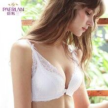 Paerlan Sexy Push Up Dunne Lace Bra Bloemen Boog Voorsluiting Naadloze Wire Gratis Kleine Borst Witte 1/2 Cup Vrouwen ondergoed