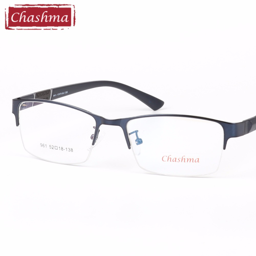 Chashma marca aleación óptica gafas marco hombres medio borde claro ...