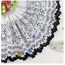New arrival black lace accessories DIY dress skirt sweater hem water soluble embroidery quality wide trim milk fabric