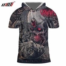 UJWI 2018 Summer Tops Mens Print Skull Precious Stone 3d Tshirt Short  Sleeve Hooded d83bd9bdc1b1