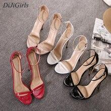 DiJiGirls Новый стиль Женщины Сексуальное Высокие Каблуки Смешанные Пряжка Ремешка Peep Toe Сандалии Знаменитости Насосы Ночной Клуб Обуви US5-US9