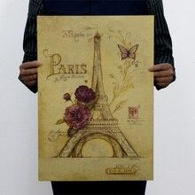 Póster Vintage mariposa París Torre Eiffel pegatinas para la pared de papel para sala de estar dormitorio calcomanía arte pintura galería murales 51*35CM