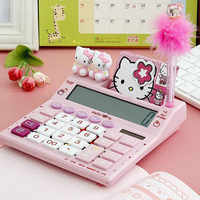 12 Digits Solar Cute kitty Calculator Solar Clear Calculator with Pen and Notebook Calculated Calculadoras