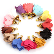 OlingArt  10PCS/LOT suede DIY jewerly making tassel with for home decoration and flower pendant gold bell earring findings