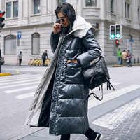 2019 neue Verdickung Frauen Winter Mantel Mode Lange Outwear Mantel Schnee Tragen Weiße Ente Unten Lambswool Mit Kapuze Warme Daunen Jacke