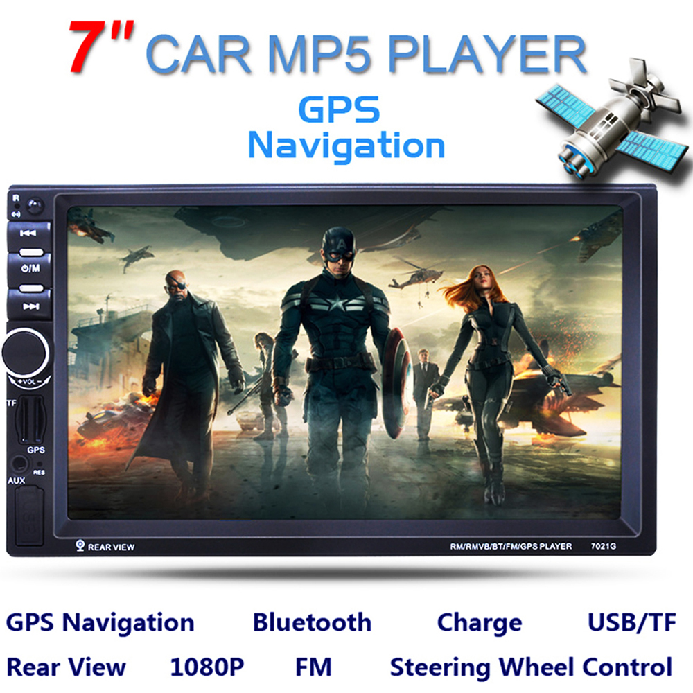 7 Inch Touch Screen Bluetooth 2 Din Car MP5 Player GPS Navigation Support TF USB AUX FM <font><b>Radio</b></font> Auto Stereo with Remote Control image