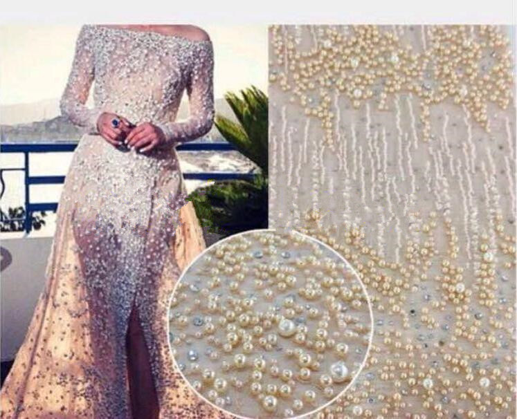 fashion African French Lace Fabric with beads High Quality LJY 82941 2 African Tulle Lace Fabric