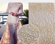 Tela de encaje francés africano de moda con cuentas, tela de encaje de tul africano de LJY 82941 2 de alta calidad para boda