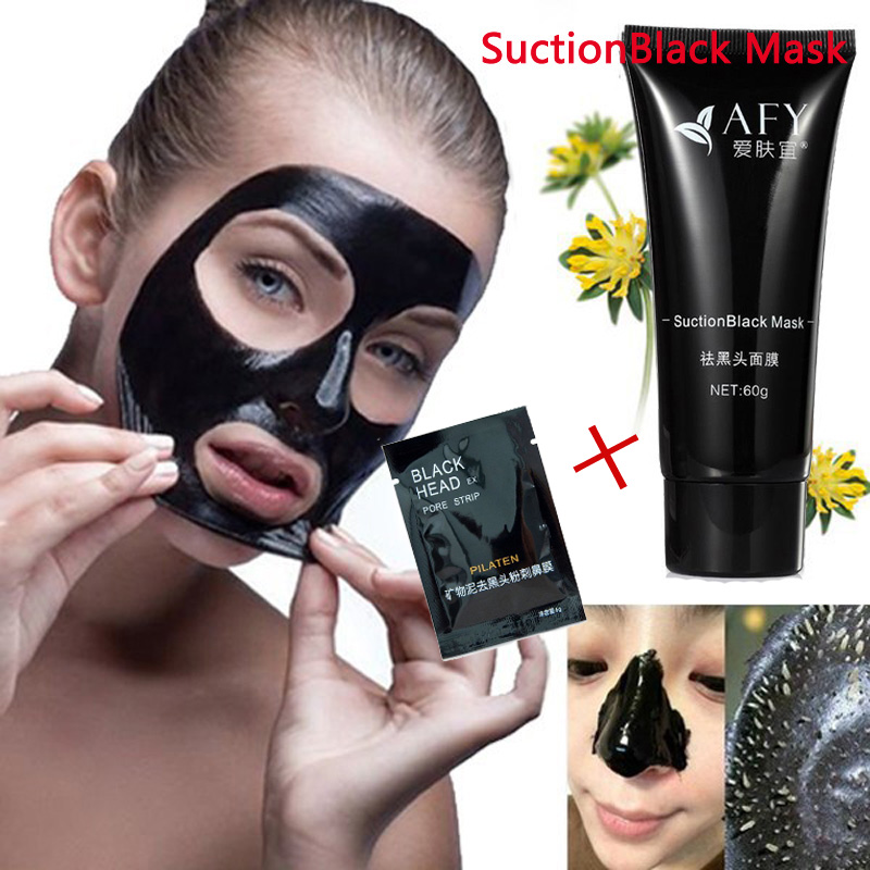 1 Bottle AFY +1 Pack Pilaten Mask Deep Cleansing Purifying Peel Off Black Mud Facail Face Mask Remove Blackhead Facial Mask