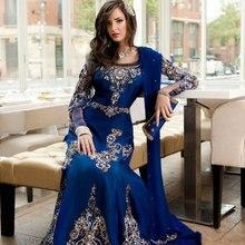 Königsblau Langarm Kristalle Abendkleider Perlen Steine Mermaid Kleid 2015 Arabisch Abaya Jalabiya Kleid