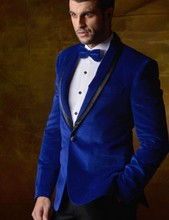 New Arrival Groomsmen Shawl Lapel Groom Tuxedos Velvet Mens Suits Wedding Best Man (Jacket+Pants+Tie+Hankerchief) B717