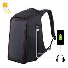 aa7fec9f41f63 Marka męska plecak 12 W plecak z panelem słonecznym USB do ładowania  zabezpieczenie przed kradzieżą 15.6