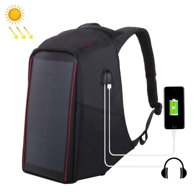 Brand Men s Backpack 12W Solar Backpack USB Charging Theft Protection 15.6     Laptop Backpack For Men Laptop Backpack Bag 031173f955b4