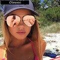 Aviador Óculos De Sol Das Mulheres Designer De Marca de luxo Do Vintage Óculos de Sol Para As Mulheres Do Sexo Feminino óculos de Sol Espelho Revestimento de Lente Plana