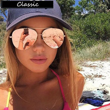 Luxury Aviator Sunglasses Women Brand Designer Vintage Sun Glasses For Women Female Sunglasses Coating Mirror Flat Panel Lens