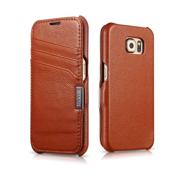 For Samsung Galaxy S6 G9200 Top Quality Pure Hand Made Luxury Genuine Leather Flip Magnet Cover