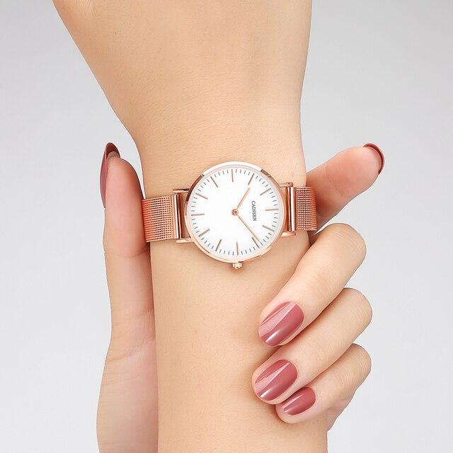 CADISEN スーパースリムスライバーメッシュステンレス鋼腕時計女性ブランドの高級カジュアル時計レディース腕時計女性レロジオ Feminino