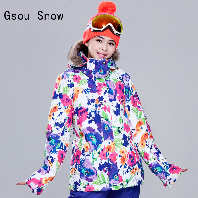 Hot Sale Women Ski Jacket Gsou Snow Windproof Waterproof Outdoor Sport Wear Snowboard Super Warm Female Clothing Skiing Coat gsou snow brand ski pants women waterproof high quality multi colors snowboard pants outdoor skiing and snowboarding trousers