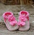 10% de desconto! VENDA QUENTE sapatos de bebê de Malha Para 0-12 meses Adorável Crochet Primeira walker shoes.1pairs/2 pcs