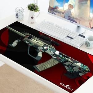 Image 5 - Large Gaming Mouse Pad CSGO Gamer Locking Edge Rubber Keyboard Mice Mouse PC Mat Gaming Grande Desk CS GO Mousepad for LOL Dota2